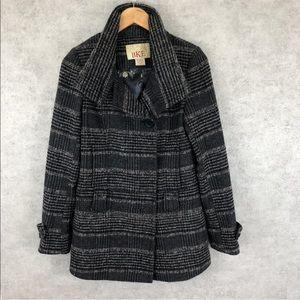 BKE Buckle Tweed Plaid Pea Coat